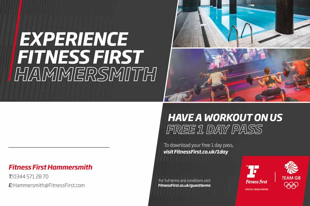 Have a workout on Fitness First Hammersmith with their FREE 1 DAY PASS