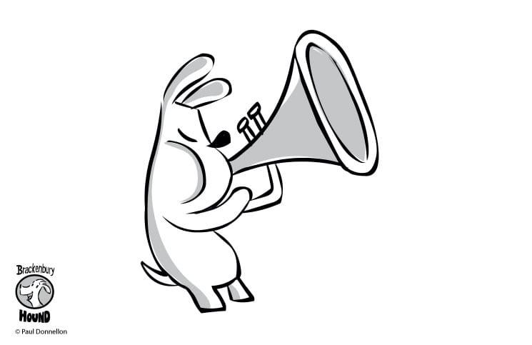 Brackenbury Hound: Why is the Brackenbury Hound blowing his trumpet?