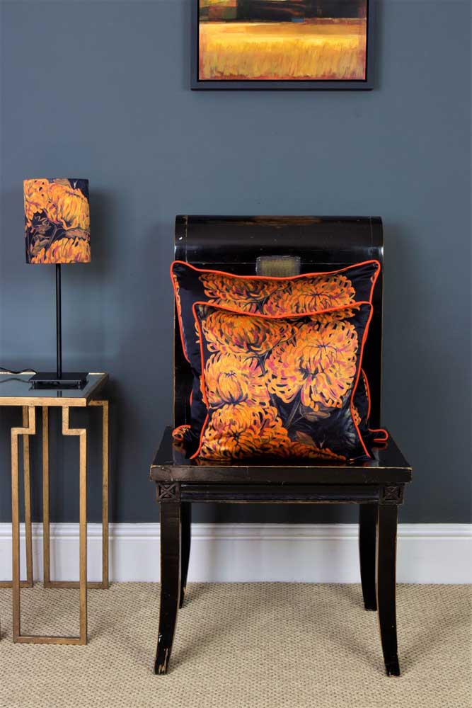 Louise Rushford-Lux and Bloom- Chrysanths Nuit cushions